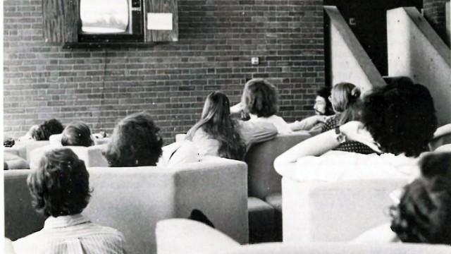 Harvard students watching the Watergate hearings.