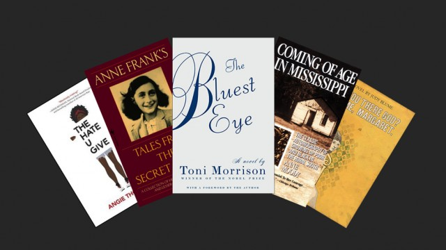 "Book jackets for ""The Hate U Give,"" ""The Diary of Anne Frank,"" ""The Bluest Eye,"" ""Coming of Age in Mississippi,"" and ""Are You There, God? It's Me, Margaret"""