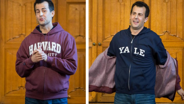 Photo of David Malan taking off his Harvard sweatshirt to reveal a Yale one