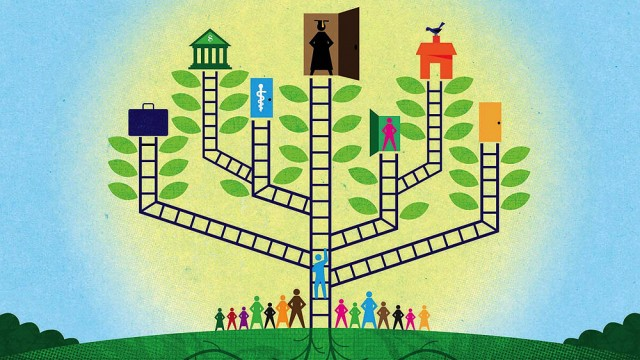 An abstract illustration of a branching tree shows the varying outcomes of government spending on programs that benefit children