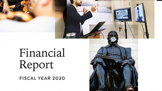 Cover of Harvard fiscal year 2020 nnual Financial Report