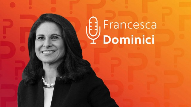 Francesca Dominici headshot over an orange background.