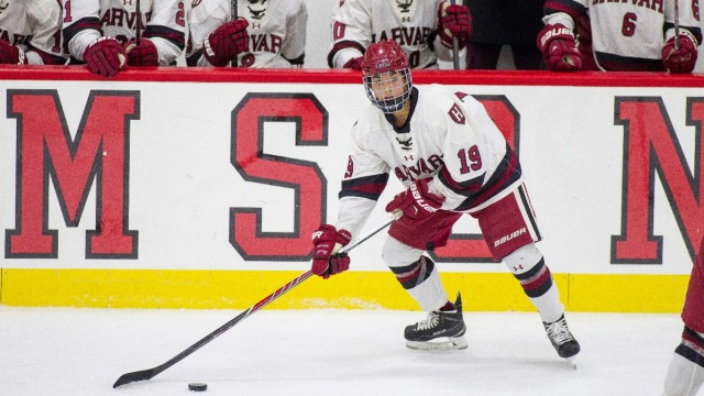 Senior forward Miye D'Oench is Harvard's lead attacker this season, with six goals and 12 points, including two assists Tuesday night against Northeastern.