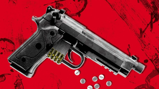 An illustration of a handgun with bullets