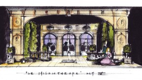For Molière's <i>The Misanthrope</i> at Berkshire Theatre Festival in Stockbridge, Massachusetts, Sprague's sketch (shown) became a model later built as the play's set.