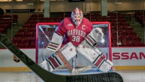 This season Maschmeyer made her 2,108th save, surpassing the Harvard women's hockey all-time record.