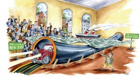 Cartoon shows an audience viewing a 3D rendering of the Holland Tunnel, with a ship floating above it and a car emerging from one end
