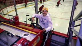 Matt Gilmore, sitting behind the wheel of a Zamboni