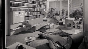 A view of the Frank House study in 1940, with many books and examples of modern art from the 1930s
