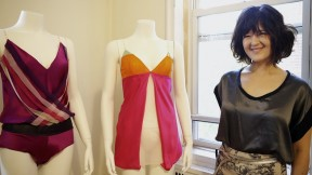 Laura Mehlinger with a Colorfield romper, in silk with mesh streamers (left), and a silk-and-mesh veil chemise
