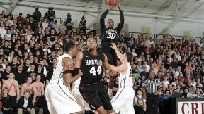 Standout players Kyle Casey (30) and Keith Wright (44) in action as Harvard, in its final home game, beat Princeton 79-67 to clinch a share of the Ivy league championship.