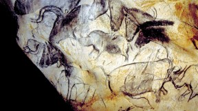 The human urge to create art appears magnificently in the Paleolithic paintings from roughly 30,000 years ago at Chauvet Cave, in southern France. Here, the Panel of the Horses.