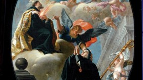 <i>The Vision of Saint Gertrude the Great with Saint Augustine and the Holy Trinity</i> (c.1673-1712). Attributed to Isidoro Arredondo