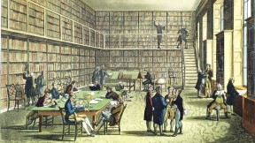 Thomas Rowlandson's view of the library of the Royal Institution in London, circa 1810