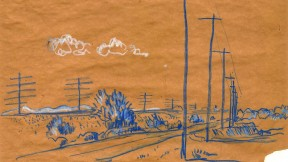 J. B. Jackson drawing of telephone poles on open plain