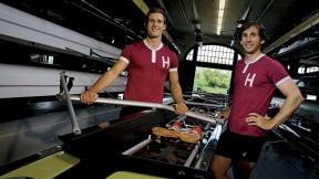 At home, far from home: New Zealander brothers James (left) and Sam O'Connor in Newell Boathouse
