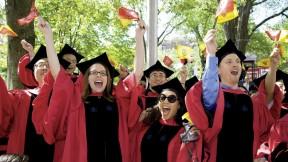 Doctoral delight: new Ph.D.s Sung Hoon Kang, Kedron Thomas, and Rheana Juno Parrenas.