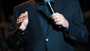 Jewish humor central: comedian Jackie Mason at the Frank Sinatra Theatre, Sunrise, Florida, in January 2008