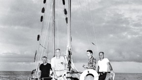 Antinuclear activist Albert Bigelow (second from left) with crew members William Huntington '28, Orion Sherwood, and George Willoughby in Hawaii in 1958