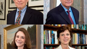 Clockwise from top left: Everett Mendelsohn, Arnold Rampersad, Louise Richardson, and Sherry Turkle