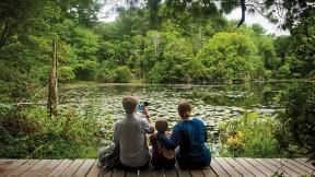 People enjoying a wildlife sanctuary