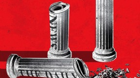 Illustration showing Greek pillars to represent democracy made from rolled newspapers. One of the pillars has tipped over and spilled a jumble of letters.
