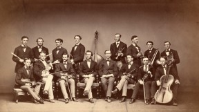 In 1871, the Pierian Sodality, 16 strong, posed with their instruments.