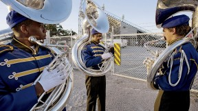 The Murphy High School Marching Band before a game in Mobile, Alabama, captured in <i>Why We Are Here</i>