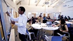 Students at work (clockwise from left): Denver Ogaro, Naomi Wills, Jun Sup Lee, undergraduate course assistant Ben Adlam, and Raina Gandhi