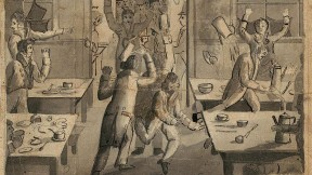 A drawing of students rebelling in a dining hall.