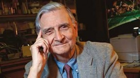 E. O. Wilson with his new <i>Pheldole</i> monograph and a specimen tray from the Museum of Comparative Zoology collection.