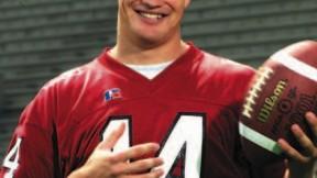 Quarterback Ryan Fitzpatrick '05. His ability to throw, scramble, and run creates havoc for opposing defenses.