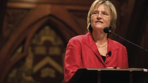 Drew Faust, speaking in Sanders Theatre on September 24