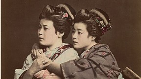 1870s Japan: a hand-tinted albumen print by Raimund von Stillfried showing two women posing
