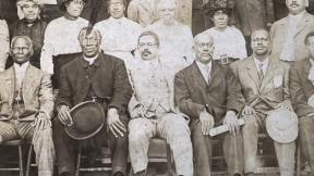 William Monroe Trotter (first row, fifth from right) with other leaders of the Liberty League, circa 1918