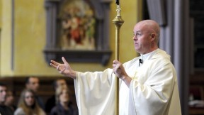 O'Brien makes a strong impression at St. Patrick's Church as he preaches about what matters in parishioners' daily lives.