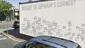 Students Sneha Khullar, Laura O'Connor, Billy Pope, and Salmaan Khan suggested using a central location as  the site for a blank canvas hosting stickers filled in by community residents, as a way to spark a dialogue about the identity of Upham's Corner.