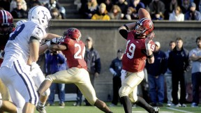 Quarterback Colton Chapple accounted for three touchdowns in the Yale game, passing for two and scoring another on foot. He threw 24 scoring passes in a spectacular senior season, breaking the Harvard record of 18 set by Neil Rose '03 in 2002.
