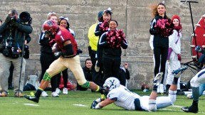 "The play that made ""slant and go"" part of Crimson lore: having put a double move on Yale's Dale Harris, Andrew Fischer '16 capered into the end zone after catching the winning pass from Conner Hempel with 55 seconds left."