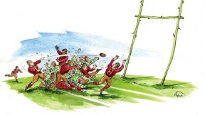 Drawing of Harvard and Oregon football players at the Rose Bowl, with the goalposts depicted at two long-stemmed red roses with a bar between them