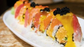 "The ""Crunchy Roll"" with salmon, tuna, and mango sauce."