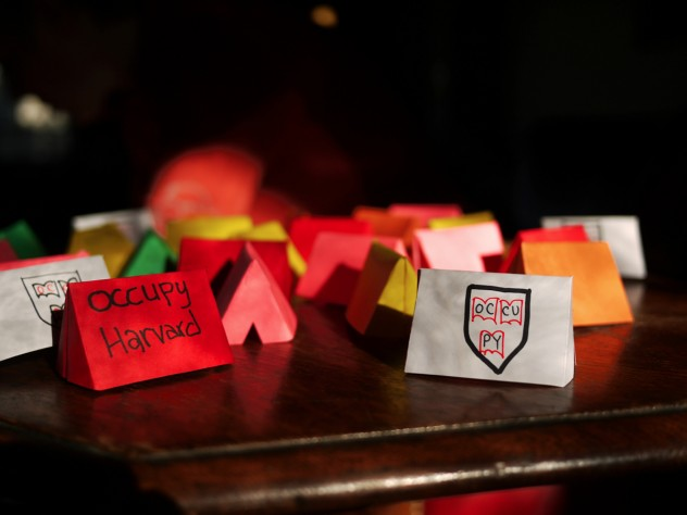 """The Occupy Harvard """"crafts working group"""" met last weekend to create tiny paper tents to decorate the former site of the encampment."""