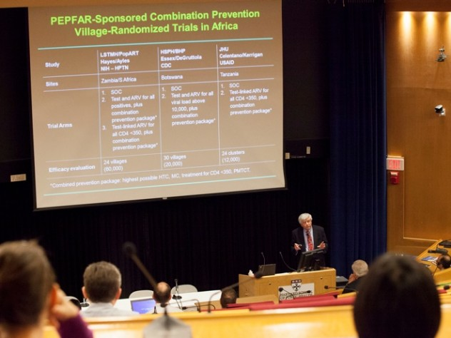 "Max Essex, Lasker professor of health sciences at Harvard School of Public Health and chair of HSPH's AIDS Initiative, speaks during the school's conference ""PEPFAR in Africa,"" devoted to exploring Harvard's role in President George W. Bush's successful effort to finance and fight AIDS in Africa."