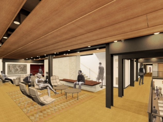 A new lounge space on Dunster House's lower level