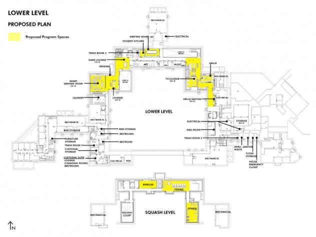 Plans for the reconfigured lower level and squash courts in Dunster House