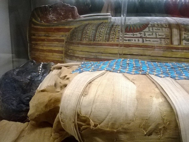 The mummy of Padihershef rests next to its coffin in the Massachusetts General Hospital's Ether Dome.