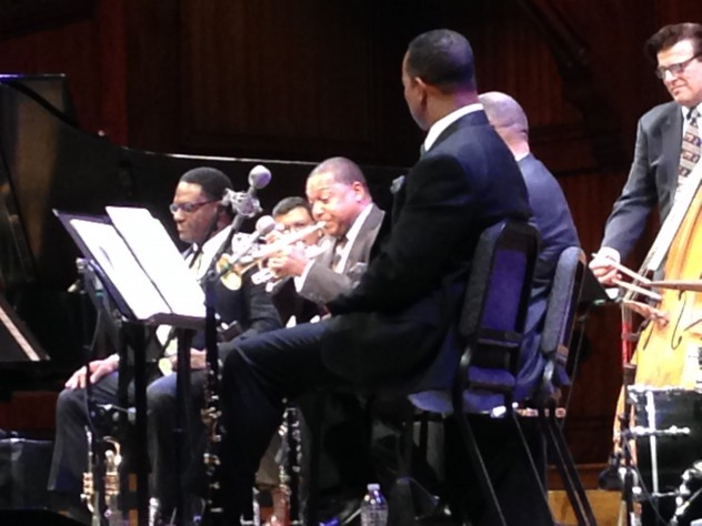 Wynton Marsalis (on trumpet) and his band perform at Sanders Theatre.