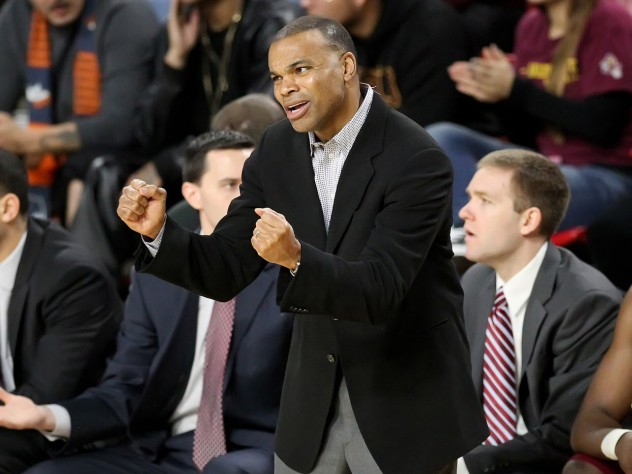 "After suffering back-to-back losses for the first time since March 2013, Amaker (shown here coaching against Arizona State) told his team before playing Grand Canyon that they needed to play with ""purpose"" and ""fight until the end."""