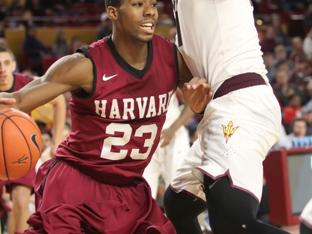 Senior Wesley Saunders (shown here against Arizona State) has led the Crimson attack but struggled to score against Virginia's rigid defense.