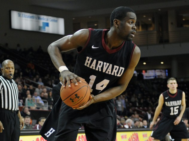 Senior co-captain Steve Moundou-Missi helped anchor a strong Harvard front court in the win over Bryant.